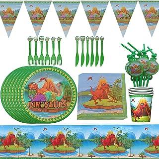 Vajilla Dinosaurio Reutilizable- ZSWQ Vajilla de Dinosaurio Set, Fiesta de cumpleaños Baby Showers Favores, ideal para pos...