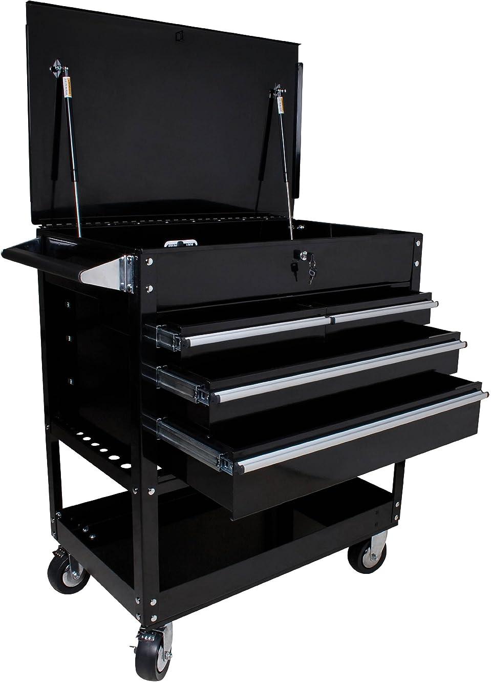 転倒疾患推進Sunex Tools 8054BK ブラック 4段引き出し ロッキング トップ サービスカート