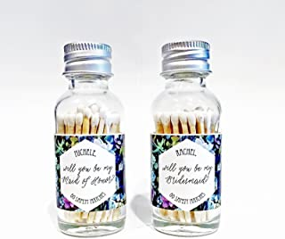 Banter & Bliss™ Personalized Wedding Favor Match Bottle with Striker for Bridesmaids or Maid of Honor · 55 White Safety Matches