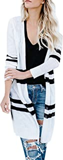 Womens Long Striped Duster Cardigan Sweater Open Front Lightweight Cropped Cable Knit Outwears