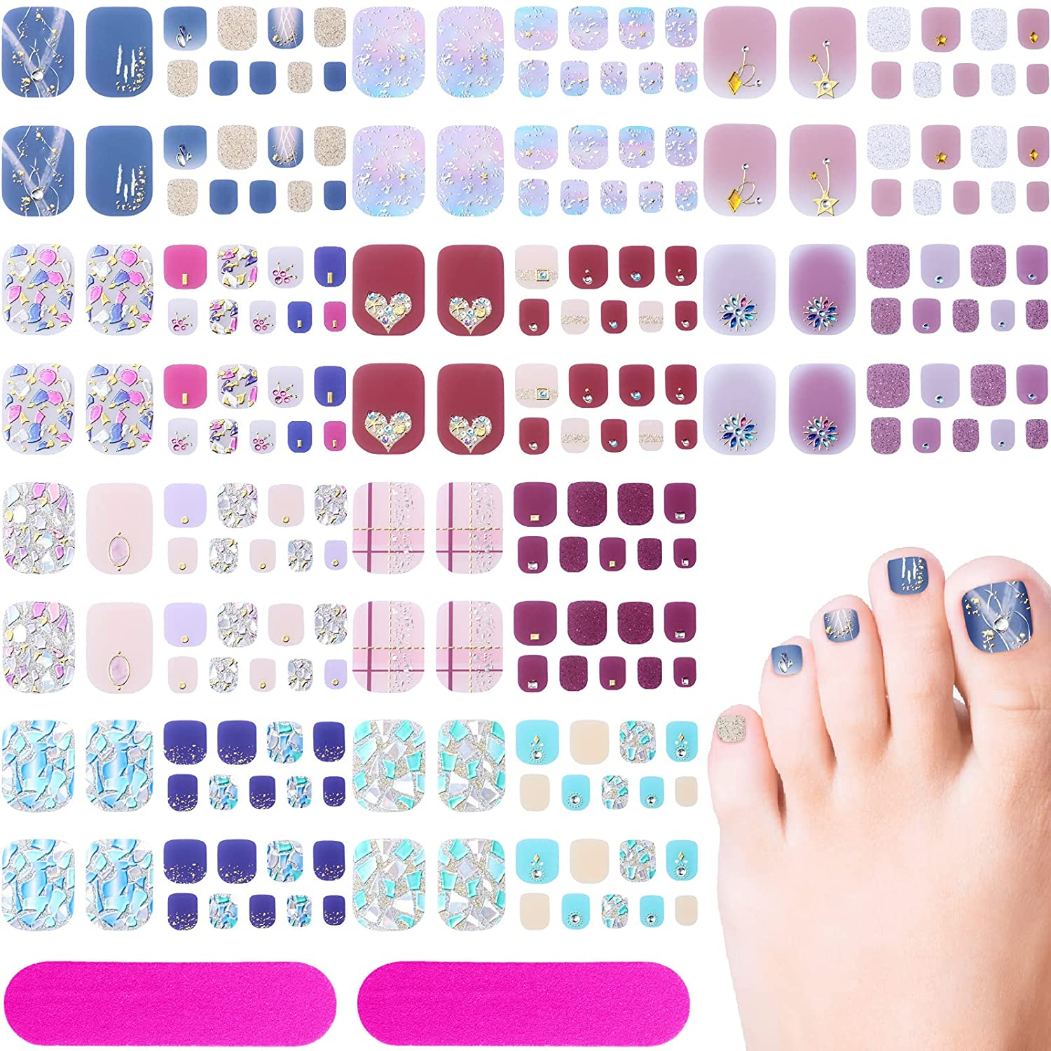 220 Pieces 10 Sheets Toenail New Manufacturer regenerated product color Polish Rhinestone Wr Full 3D Strips