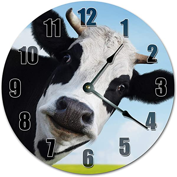 PotteLove 12 Vintage Adorable Staring Cow Clock Wooden Decorative Round Wall Clock