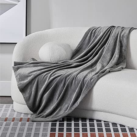 Bedsure ブランケット 冬用 毛布 シングル 140x200cm おしゃれ 夏 グレー 洗える 夏用 フランネル もうふ マイクロファイバー フリース 軽量 薄手