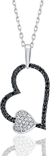1/6 Carat Natural Diamond Pendant Necklace 925 Sterling Silver (HI Color, I3 Clarity) Black and White Diamond Heart Pendant Necklace for Women Diamond Jewelry Gifts for Women