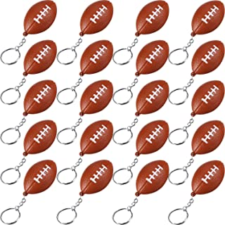 Blulu 20 Pack Football Keychains for Party Favors, School Carnival Reward, Party Bag Gift Fillers (Football Keychains, 20 Pack)