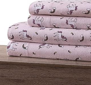 Dakota Kids Pastel Pink Dream Flannel Unicorn Sheets for Girls in 100% Cotton Flannel (Full)