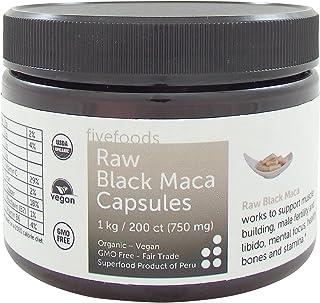 Black Maca Capsules – Raw, Organic, Fair Trade, GMO Free, Grown Traditionally in Peru – 200 Vegan Capsules, 750 Mg Each