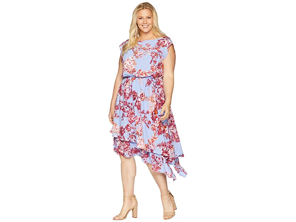 Adrianna Papell Plus Size Barque Floral Dress (Peri Multi) Women