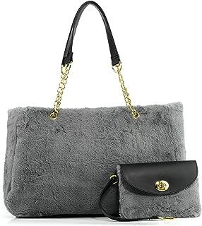 Fur Carryall Tote Bag with Wristlet Clutch Women Chain Shoulder Handbag