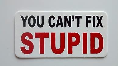 "3 - You Cant Fix Stupid Hard Hat/Helmet Stickers 1"" x 2"""