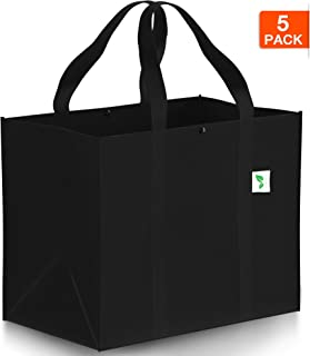 Reusable Grocery Bags (5 pack) Hold 50+ lbs - Large Super Strong - Heavy Duty Shopping Bags - Grocery Tote Bag - Reinforced Handles & Thick Plastic Support Bottom