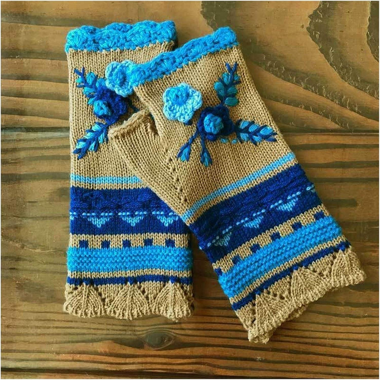 JBIVWW Women Warm Knitting Hand Hook Jacquard Knitted Half-Finger Winter Gloves Mittens Handmade Flower Embroidery Gloves (Color : 3)