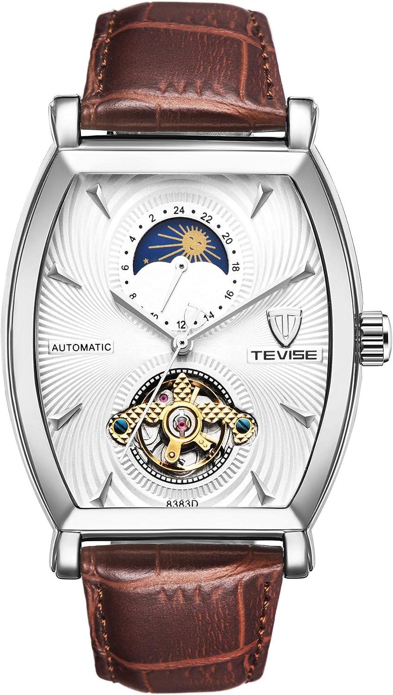 Reloj ZHANGZZ Reloj de Gama Alta, TEVISE / 8383D Reloj Cuero Estrella mecánico automático Reloj de los Hombres