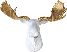Near and Deer Large Faux Moose Head Wall Mount – Farmhouse Chic Decor – White/Gold
