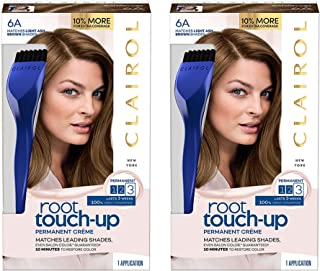 Clairol Root Touch-Up Permanent Hair Color Creme, 6A Light Ash Brown, 2 Count