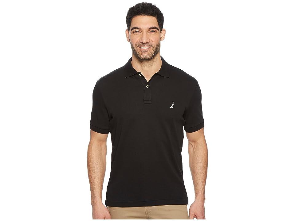 Nautica Short Sleeve Solid Interlock Polo (True Black) Men