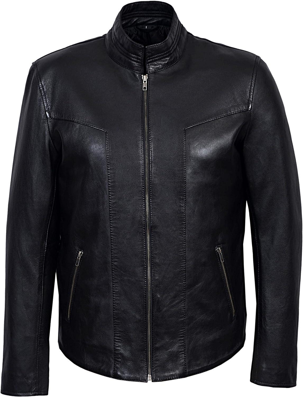 Men's Black-p Soft Napa Stylish Luxury Casual Real Leather Fashion Jacket 6810