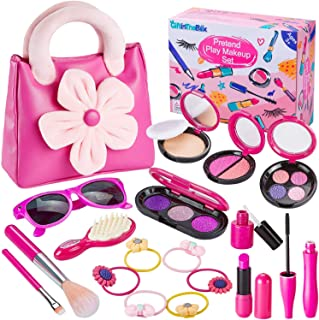 GiftInTheBox Pretend Makeup for Girls, Play Makeup Set with Pink Floral Tote Bag for Little Girls Age 3+, Great and Birthd...