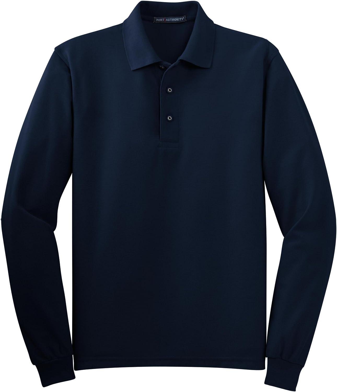 Port Authority Tall Silk Touch Long Sleeve Polo Shirt, 4XLT, Navy