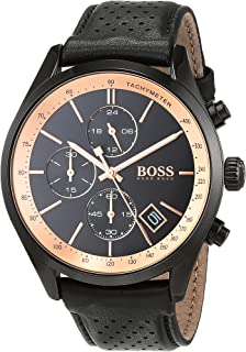 Hugo Boss Mens Quartz Watch, Analog Display and Leather Strap 1513550
