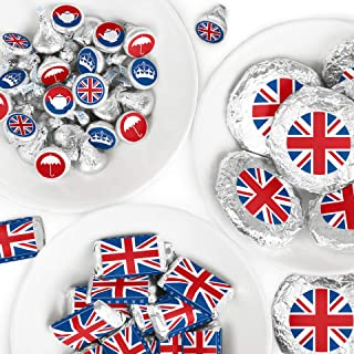 Big Dot of Happiness Cheerio, London - Mini Candy Bar Wrappers, Round Candy Stickers and Circle Stickers - British UK Party Candy Favor Sticker Kit - 304 Pieces