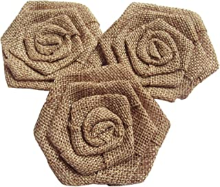 YYCRAFT 12pcs Burlap Roses Fabric Flowers for Headbands Hair Accessory DIY Crafts/Wedding Party Decoration/Scrapbooking Embellishments(3