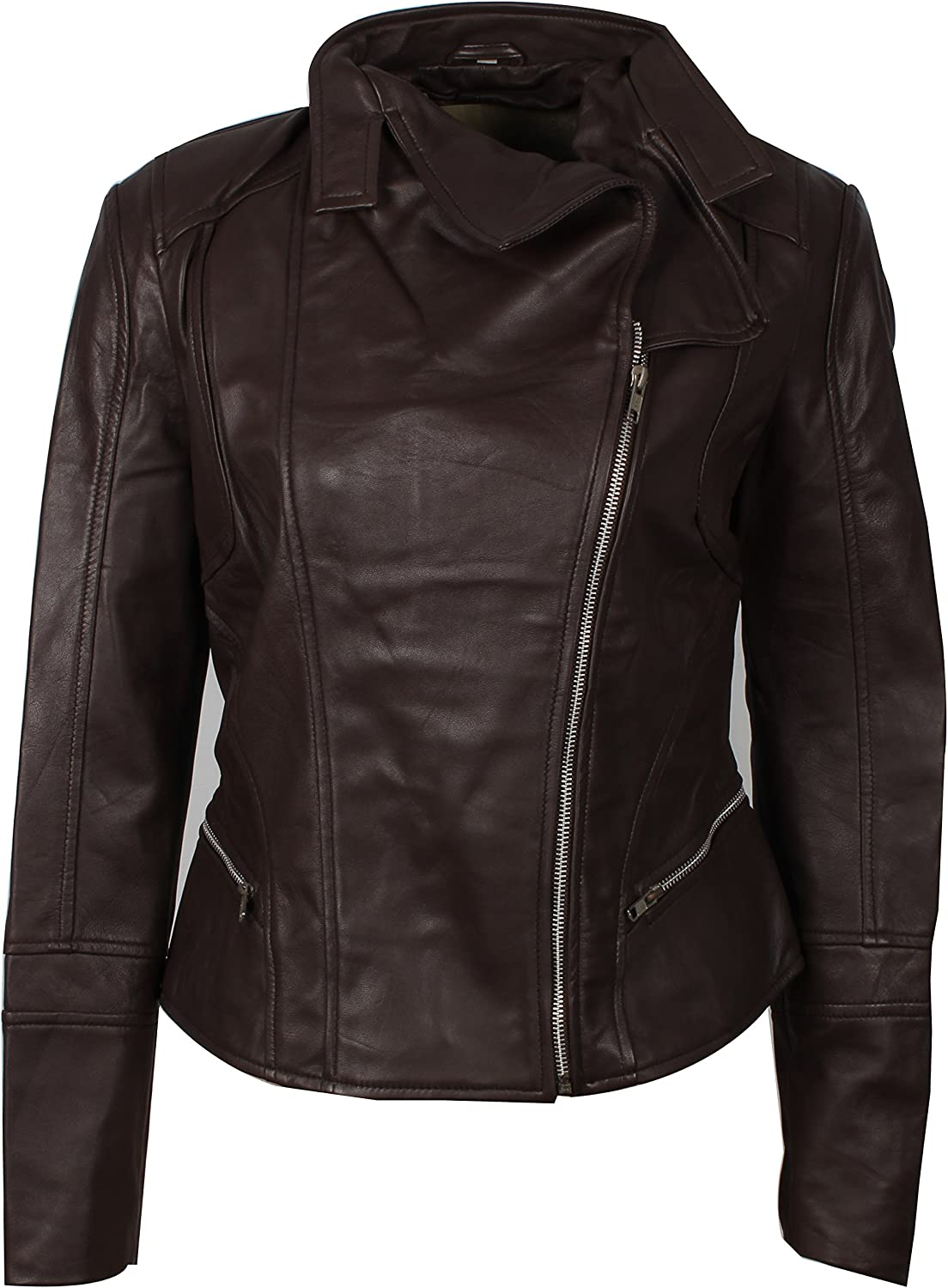 New Women's Stylish Short Body Slim Fit Biker Lady Leather Jacket.