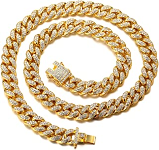 Gold Chain for Men Iced Out,Men's 14MM 18k Real Gold...