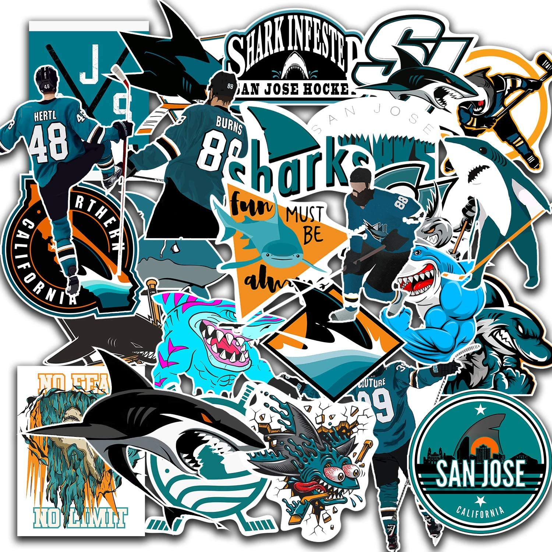 26 PCS Set of San Jose Vinyl Sharks Stickers Pack San Jose Decal Sharks 2-3 inches