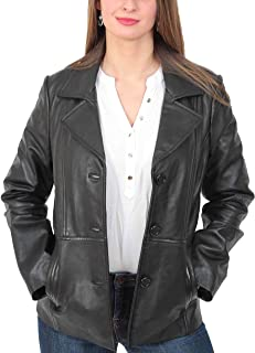 Womens Leather Blazer Coat Ruth Ladies Black Fitted Classic Hip Length Jacket