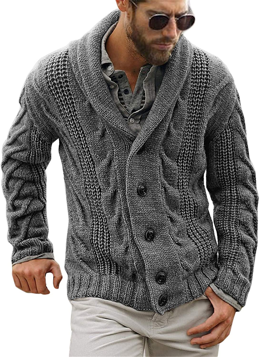 Gafeng Mens Shawl Collar Cable Closure Button OFFicial store Casual Rib Austin Mall Knitted