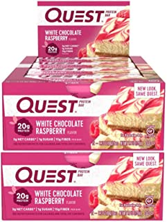 Quest Nutrition Protein Bar White Choc Raspberry. Low Carb Meal Replacement Bar w/ 20g+ Protein. High Fiber, Gluten-Free (...