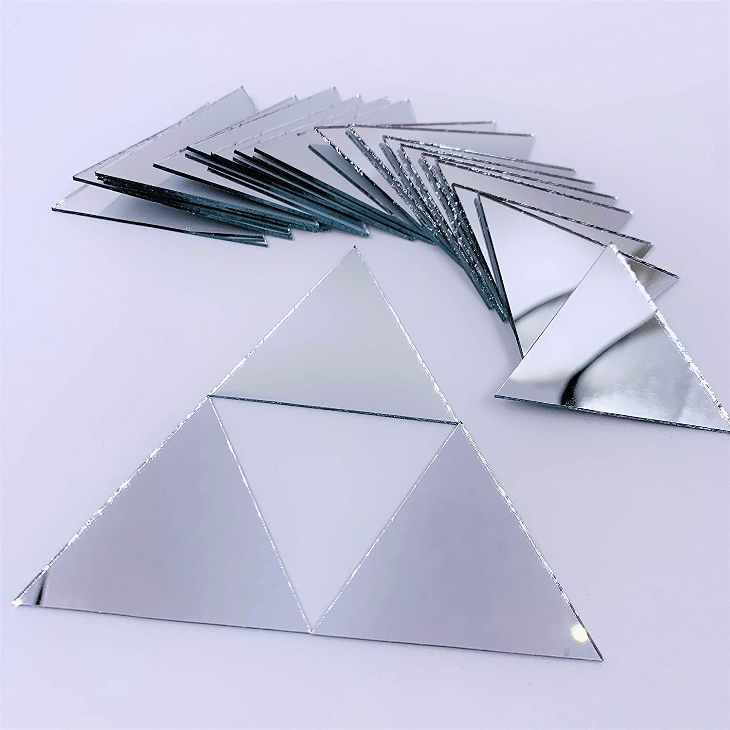 Rose Gold 50.8 mm 2 inch Triangle Mirror Mosaic Tile Craft Mirrors 50pcs