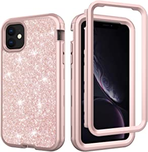 YMHML iPhone 11 Case iPhone XI Cover Bling Glitter Full-Body Protection Hybrid Protective Hard Shell Silicone Rubber with Front Frame iPhone 11 iPhone XI 6.1 Inch (Rose)