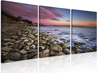 Natural art Canvas Wall Art Landscape Theme Round Stone Picture Prints with Wooden Frame Ready to Hang for Home Livingroom Bedroom 12 X 16 Inches x 3 Panels