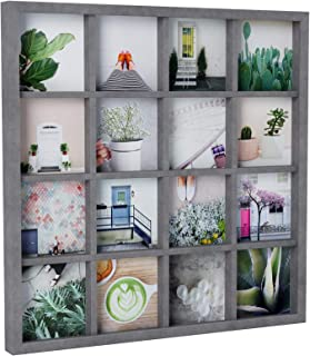 Umbra Gridart, Collage Picture Frame for 16 Square 4x4 Inch Images, Gallery Style Multi Photo Display, Driftwood