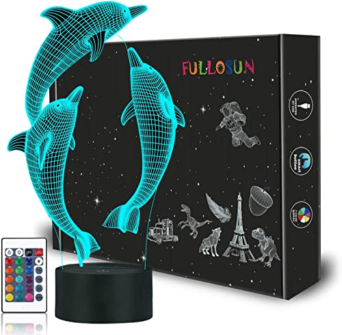Dolphin 3D Night Light for Kids, Ocean Porpoise Illusion Bedside Lamp 16 Colors Changing with Remote Control Bedroom ...