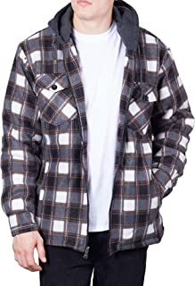 Mens Flannel Hoodie Jackets for Men Zip Up Fleece Sherpa Lined Shirt