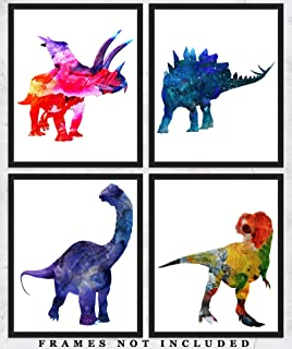 Dinosaurs Nursery Wall Decor Art Prints: Set of Four (8x10) Unframed Pictures - Great Gift Idea for Any Nursery and Kids Room Under $20