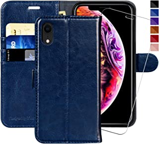 iPhone XR Wallet Case,6.1-inch,MONASAY [Glass Screen Protector Included] Flip Folio Leather Cell Phone Cover with Credit Card Holder for Apple iPhone XR