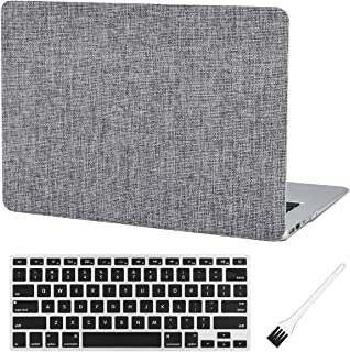 MacBook Air 13 inch Case A1369 A1466 Laptop Hard Case Matte Rubberized Plastic Hard Shell Case Cover (Old Version 2010-2017) & Silicon Keyboard Cover & Dust Brush-Grey Fabric Texture
