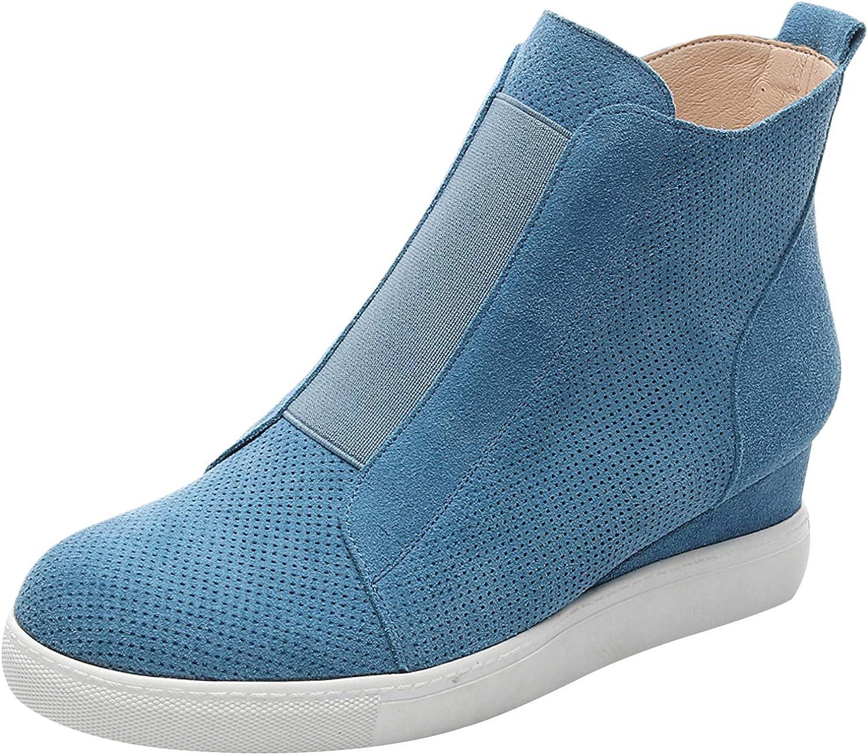 Rismart Women's Wedge Bootie Hi-Top Sports shoes Casual Zip Fashion Sneakers