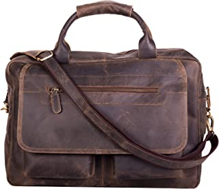 KomalC Leather Briefcase 15 Inch Retro Buffalo Hunter Leather Laptop Messenger Bag Office Briefcase College Bag Fits Upto 15.6 Inch Laptop (Distressed Brown)