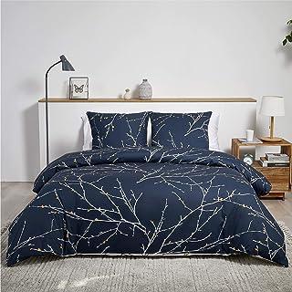 Bedsure Baumwolle Bettwäsche 155x220 cm Navy Blau/Beige Bettbezug Set mit schickem Zweige Muster, 3 teilig weiche Bettbezüge mit Reißverschluss und 2 mal 80x80cm Kissenbezug