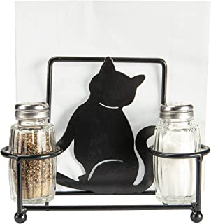 Kitty Cat Napkin Holder with Glass Salt and Pepper Shakers, Decorative Kitten Cat Bar or Dining Room Table Decor, Gifts for Pet Owners