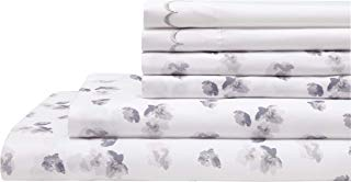 Elite Home Products Spring Meadow Microfiber Print Embroidered Bed Sheet Set, Twin, Gray