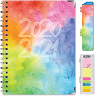 "HARDCOVER Academic Year 2020-2021 Planner: (June 2020 Through July 2021) 8.5""x11"" Daily Weekly Monthly Planner Yearly Agenda. Bonus Bookmark, Pocket Folder and Sticky Note Set (Rainbow Watercolors)"