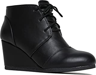 Roxy Wedge Booties - Casual Lace Up Low Heel Closed Toe Ankle Boot