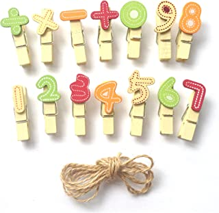 LWR CRAFTS Mini pinces à linge en bois numéros 28 pièces et cordon de jute 20 cm