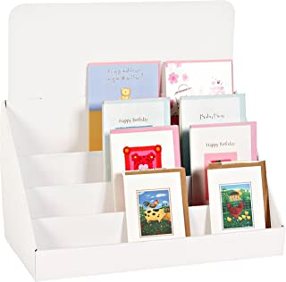 Stand-Store 18-Inch 4 Tier Cardboard Greeting Card Display Stand - White